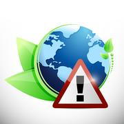 globe leaves and warning sign illustration design - stock illustration