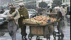 APPLE CART Street Seller Vendor AFGHANISTAN Kabul 1980s Vintage Film Home Movie - stock footage