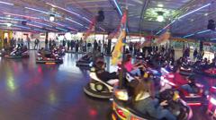 Bumper Cars, Amusement Park Rides Stock Footage