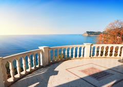 Observation deck over the sea - stock photo