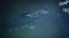 Stock Video Footage of Truck Submerged In River