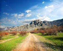 Road to the mountains Stock Photos