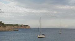 Yachts at anchor at Samarador National Park Stock Footage
