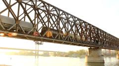 Train on the bridge Stock Footage
