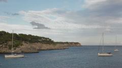 Yachts at anchor near coast of Mallorca  Stock Footage