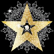 Stock Illustration of Gold star with huge precious pearls