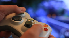 Man playing video game with a joystick Stock Footage