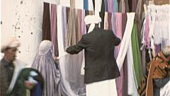 Veil Seller AFGHANISTAN Kabul Marketplace  1980s Vintage Film Home Movie 7161 - stock footage