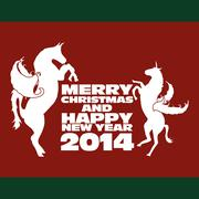Horse and happy new year vector art Stock Illustration