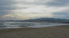 Palma Beach and city Stock Footage