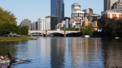 Rowers on yarra Stock Footage