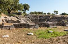 ruins of old amphitheater in troy - stock photo