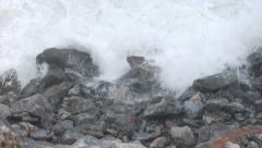 Storm waves crashing on rocks Stock Footage