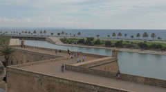 Old city fortifications Palma Stock Footage