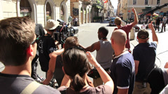 Film set, The Man from U.N.C.L.E, in Rome 2013 (2) Stock Footage