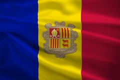 andorra flag blowing in the wind - stock illustration