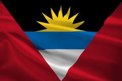 Antigua and barbuda flag blowing in the wind Stock Illustration