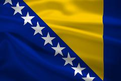 Bosnia and herzegovina flag blowing in the wind Stock Illustration
