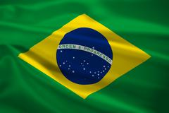 brazil flag blowing in the wind - stock illustration
