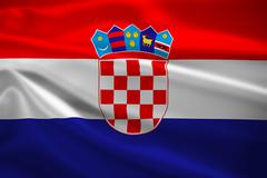croatia flag blowing in the wind - stock illustration