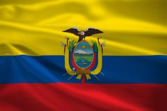ecuador flag blowing in the wind - stock illustration