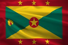 Grenada flag blowing in the wind Stock Illustration
