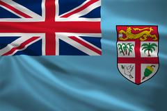 fiji flag blowing in the wind - stock illustration