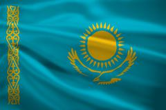 Kazahstan flag blowing in the wind Stock Illustration