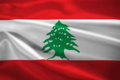 lebanon flag blowing in the wind - stock illustration