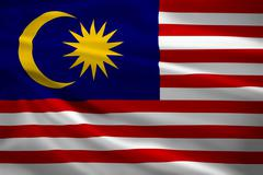 Malaysia flag blowing in the wind Stock Illustration
