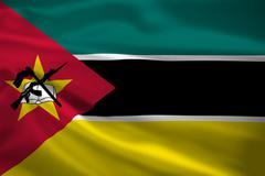 mozambique flag blowing in the wind - stock illustration