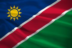 namibia flag blowing in the wind - stock illustration