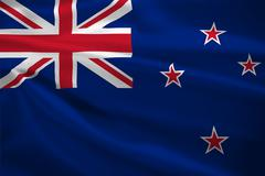 New zealand flag blowing in the wind Stock Illustration