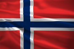 Stock Illustration of norway flag blowing in the wind