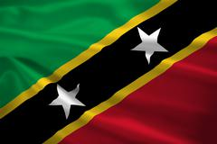Saint kitts and nevis flag blowing in the wind Stock Illustration