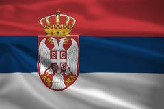 serbia flag blowing in the wind - stock illustration