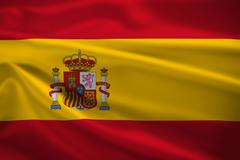 spain flag blowing in the wind - stock illustration