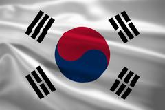 South korea flag blowing in the wind Stock Illustration