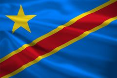 democratic republic of the congo flag blowing in the wind - stock illustration