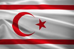 turkish republic of northern cyprus flag blowing in the wind - stock illustration