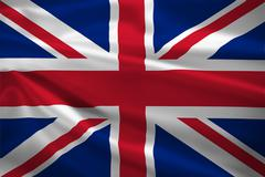 united kingdom flag blowing in the wind - stock illustration