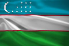 Stock Illustration of uzbekistan flag blowing in the wind