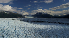 Aerial view Knik glacier Chugach Mountains, Alaska Stock Footage