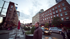 Meatpacking District New York City Manhattan NYC Panning 360 Skateboarding Stock Footage