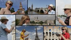 Ultra HD 4K tourist happy blonde attractive woman girl travel read map admire Stock Footage