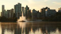 Lost Lagoon Sunrise Mist, Vancouver Stock Footage
