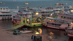 Stock Video Footage of Manaus Docks Boats Market Amazon