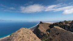 Time lapse clouds top Pico de la Zarza tilt pan 11163 Stock Footage