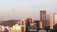 4K Pittsburgh Skyline News Helicopter 3745 Stock Footage