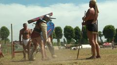 Gladiator training Secutor Secutor 01 Stock Footage